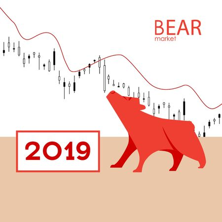 Bear market. Bear and red arrow. The chart and the indicator show a downward trend. Stock market vector illustration.