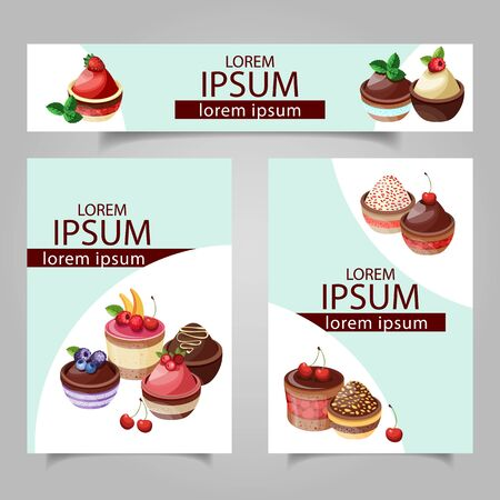 Cards template for a bakery with lettering and graphics style elements. Vector illustration. Banque d'images - 129774341