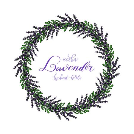 Lavender Card with flowers. Vintage Label with provence violet lavender. Wreath of Lavender. Greeting card provence herbs,  invitation card for wedding, birthday and other holiday and summer background. Vector illustration. Illustration