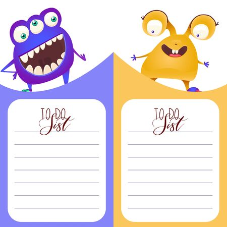 Cute vertical cards with Monsters in cartoon style. Template for card, bookmark, banner. To do List with place for text. Vector illustration.