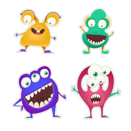 Set of four color stickers with cute monsters. Cartoon illustration. Vector set. Standard-Bild - 129774350