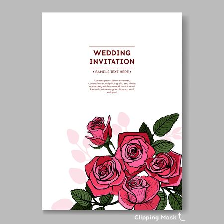 Floral wedding invitation pink rose. Suitable for the design of invitations or holiday cards. Vector illustration.