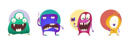 Set of four color stickers with cute monsters. Cartoon illustration. Vector set. Standard-Bild - 129774349