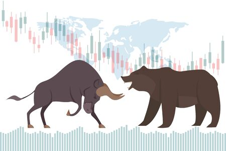 Bullish and Bearish trend in the stock market. Stock market and business concept with world map vector illustration. Illustration