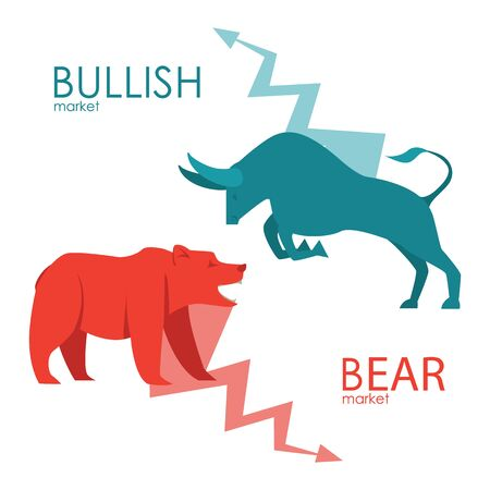 Bullish and bearish symbols. Stock market trends. Players on Exchange. Bulls and bears traders on a stock market. Vector. Vectores