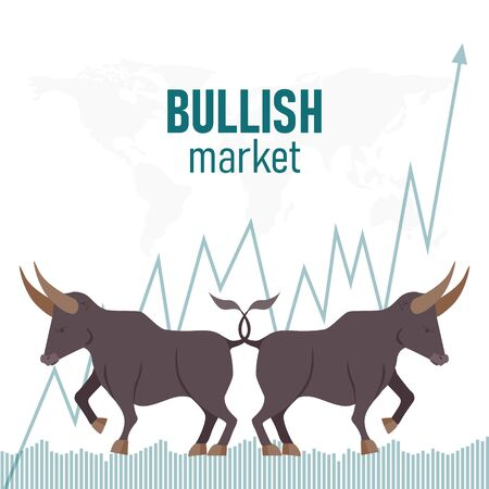 Bullish trend in the stock market. Bull shape The growing Business market. Bull and green arrow. Stock market and business concept. Vector illustration.