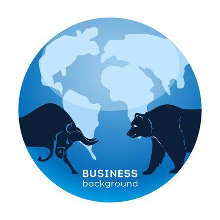 Stock market. Financial analytics. Bull market. Bear market. Abstract business background soft blue. vector Illustration
