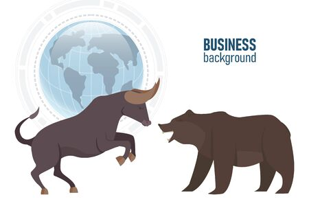Bullish and Bearish trend in the stock market. Stock market and business concept, vector illustration.