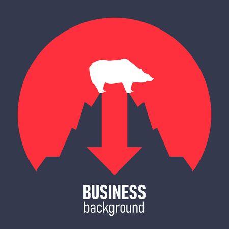 Minimalist style vector business finance concept. Bear market. Vector Illustration. Illustration