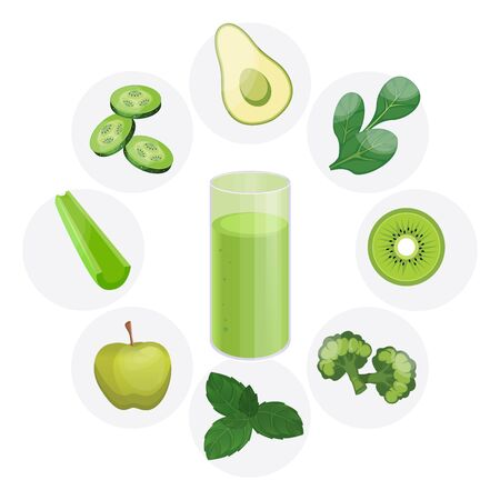 Detox cleanse drink concept, red vegetable smoothie. Natural, organic healthy juice in bottle for weight loss diet or fasting day. Avocado, spinach, kiwi, broccoli, Basil, Apple, celery, cucumber.