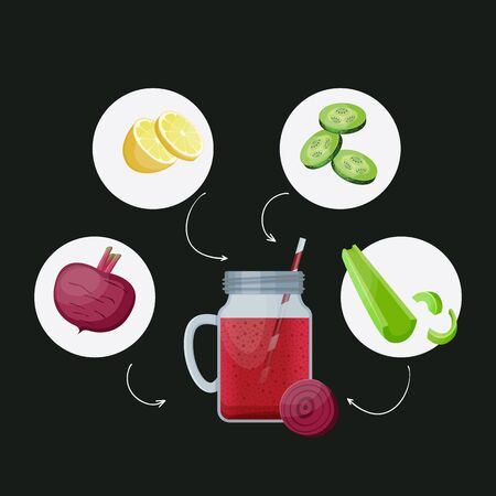 Detox cleanse drink concept, red vegetable smoothie. Natural, organic healthy juice in bottle for weight loss diet or fasting day. Beet, cucumber lime and celery mix isolated on black background.