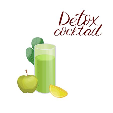 Detox cleanse drink concept, green vegetable smoothie. Natural, organic healthy juice in a glass. Cucumber, apple, lime and spinach mix isolated on white Standard-Bild - 129774553