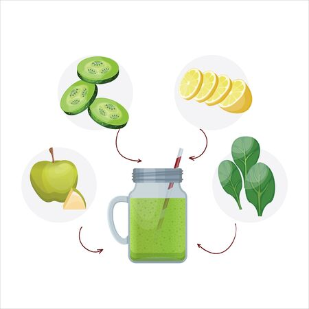 Detox cleanse drink concept, green vegetable smoothie, ingredients. Natural, organic healthy juice in bottle for weight loss diet or fasting day. Cucumber, apple, lime and spinach mix isolated