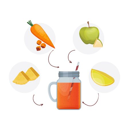 Detox cleanse drink concept, red vegetable smoothie. Natural, organic healthy juice in bottle for weight loss diet or fasting day. Carrot, apple, lime and pineapple mix isolated on white background. Archivio Fotografico - 129774556