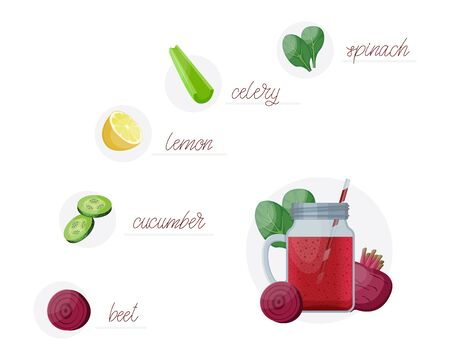 Detox cleanse drink concept, red vegetable smoothie. Natural, organic healthy juice in bottle for weight loss diet or fasting day. Beet, cucumber lime and celery mix isolated on white background.