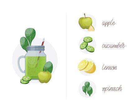 Detox-Reinigungsgetränkkonzept, grüner Gemüsesmoothie, Zutaten. Natürlicher, gesunder Bio-Saft in der Flasche zur Gewichtsreduktion oder zum Fastentag. Gurke, Apfel, Limette und Spinat.