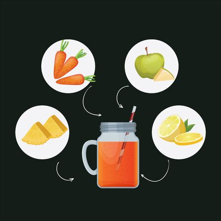 Detox cleanse drink concept, red vegetable smoothie. Natural, organic healthy juice in bottle for weight loss diet or fasting day. Carrot, apple, lime and pineapple mix isolated on black background.