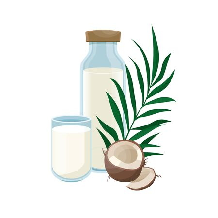 Coconut milk in a glass bottle.  Healthy lifestyle. Vegetable milk. Coconut vegan milk in a bottle. Vector illustration.