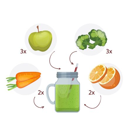 Detox cleanse drink concept, red vegetable smoothie. Natural, organic healthy juice in bottle for weight loss diet or fasting day. Carrots, Apple, broccoli and oranges. Çizim