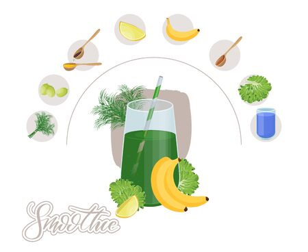 Glass of Fresh Fruit Juice of Lime, Peking cabbage, dill and banana. Isolated on White Background. Detox smoothie cocktail. Standard-Bild - 146469417
