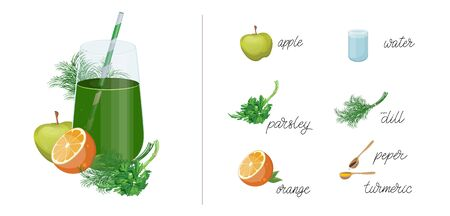 Glass of Fresh Fruit Juice of Apple, orange, dill and parsley. Isolated on White Background. Detox smoothie cocktail. Vettoriali
