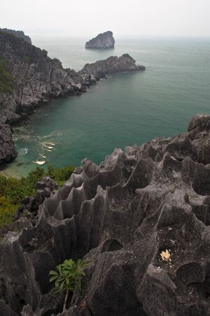 A veiw from the rugged top of Monkey Island, in Halong Bay, Vietnam