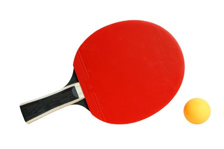 Table tennis racket and ball isolated on the white background photo