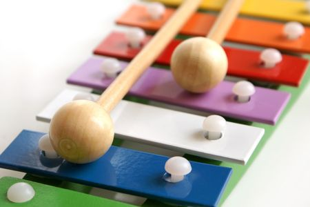 tuneful: Detail of toy colorful xylophone  Stock Photo