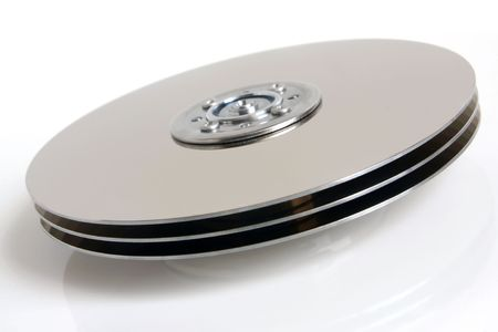 Hard disk detail on white background photo