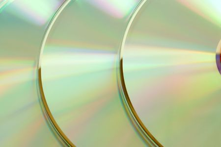 reverberation: Closeup of three cd, for backgrounds or textures