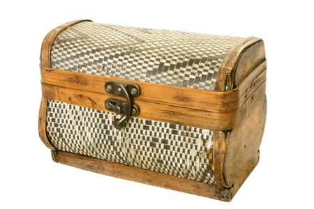 Old casket from birch bark isolated on the white background Stock Photo - 6305026