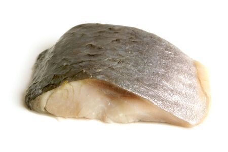 Piece of herring on a white background photo