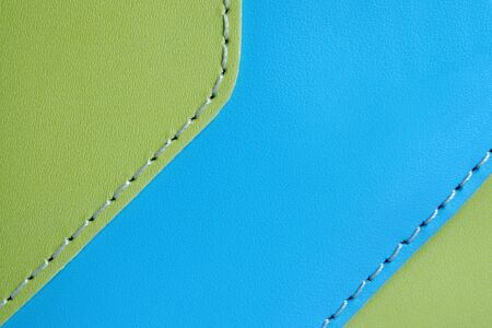 Natural green and blue leather background closeup photo