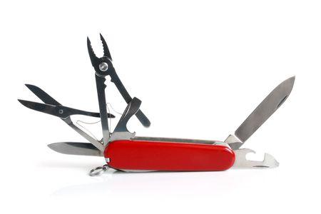zakmes: Zwitsers zak mes op een witte achtergrond  Stockfoto