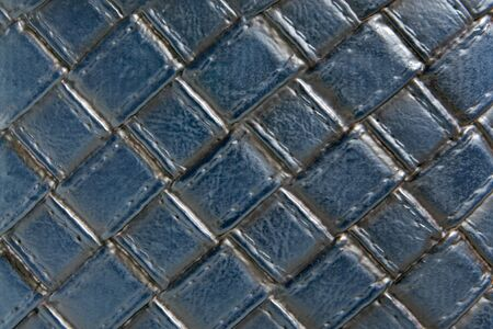 Natural blue leather background closeup photo