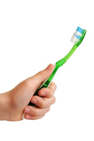 neatness: Tooth-brush in hand isolated on the white background