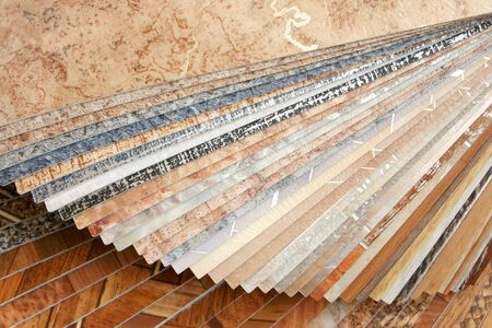 The samples of collection natural linoleum Stock Photo - 6777103
