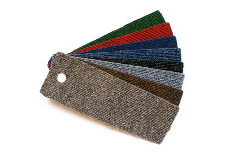 sampler: Samples of collection carpet on a white background Stock Photo