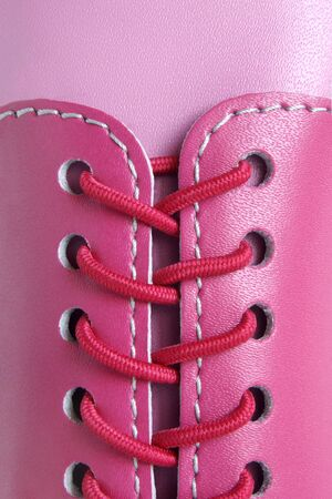 Showing laces in detail. Closeup. photo