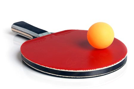 Table tennis racket and ball on a white background photo