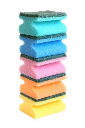 wash dishes: Multicolored sponges isolated on the white background