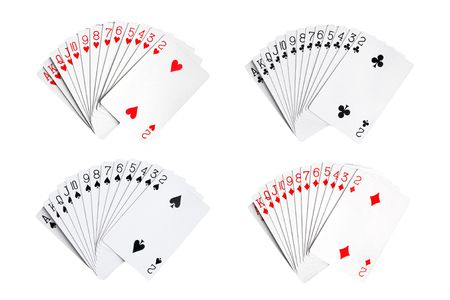 Playing cards isolated on the white background photo