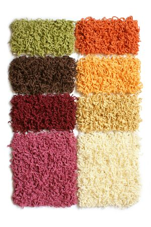 wool rugs: Samples of collection carpet on a white background Stock Photo