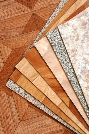 stoneware: The samples of collection natural linoleum Stock Photo