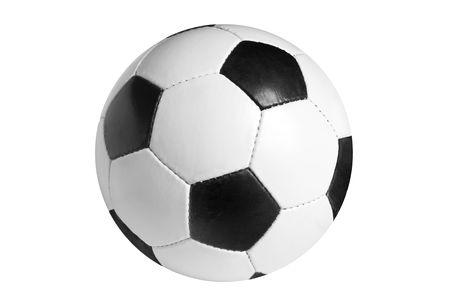 leather ball: F�tbol aislado en el fondo blanco Foto de archivo