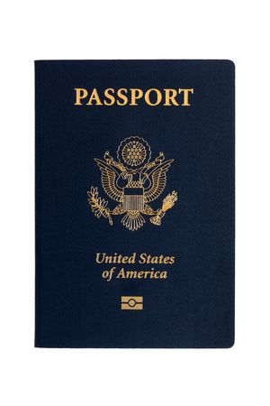 American passports on a white background photo