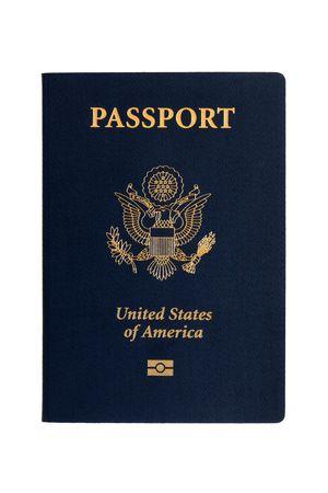 pasaportes: Pasaportes estadounidenses sobre un fondo blanco  Foto de archivo