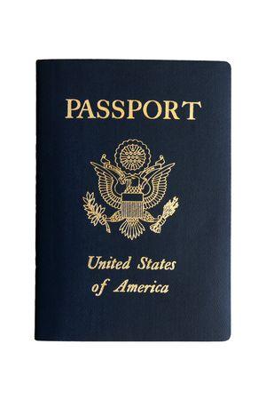 naciones unidas: Pasaporte estadounidense sobre un fondo blanco