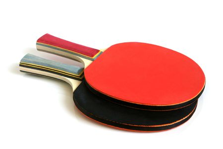 Table tennis rackets on a white background photo
