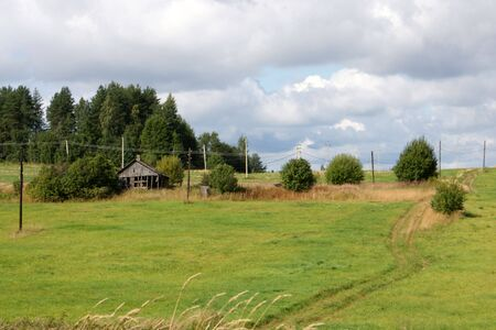 Rural landscape with old house, a horizontal picture Stock Photo - 7664589